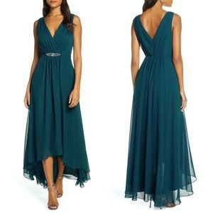 Eliza J Embellish Wrap Look High/low Chiffon Dress